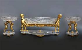 19th C Figural Bronze Crystal Baccarat Garniture Set