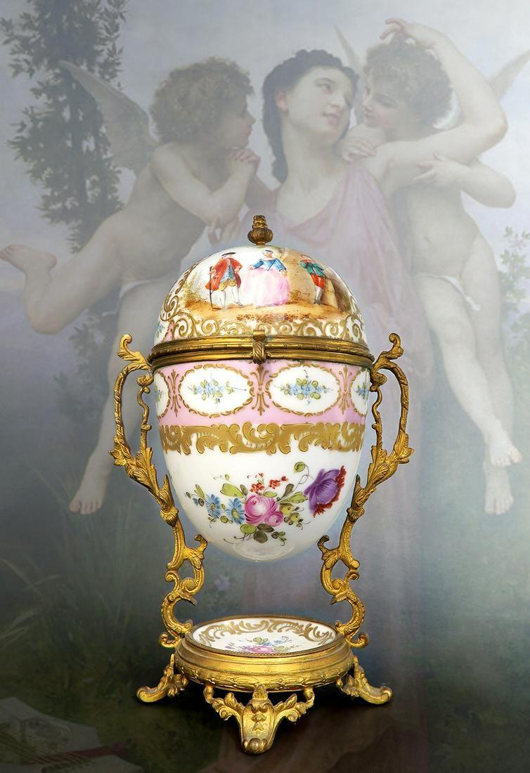 19th C. French Bronze & Porcelain Egg Box