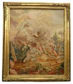 Magnificent Framed French Tapestry. 19th C.
