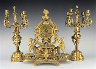 French Figural Bronze Champleve Enamel Clock Set