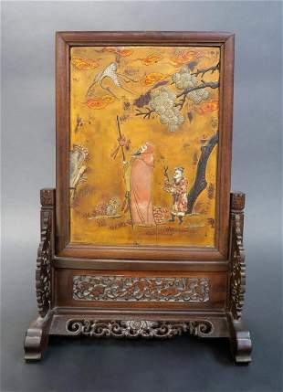 Antique Chinese Scenic Inlaid Stone Lacquer Screen
