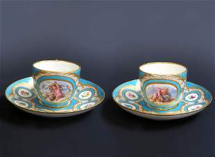Pair of French Paris Porcelain Cup Saucer