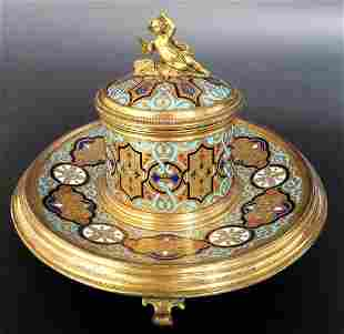 French Bronze Champleve Enamel Figural Inkwell 19th