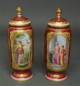 19th C Pair of Hand Painted Royal Vienna Vases