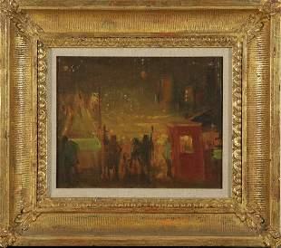 "EVERETT SHINN ""On Mulberry Street"" Oil on Canvas"