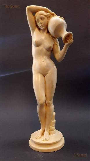 """""""The Source"""" 16"""" Statue By """"A.Santini"""", Rare & Signed!"""