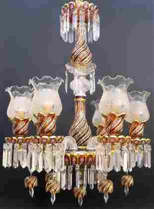 Ruby Red Baccarat Style 6 Branch Chandelier