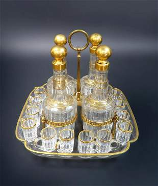 19th C French Baccarat TantalusCave a Liqueur