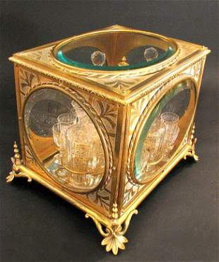 19th C French Bronze Baccarat Crystal Tantalus