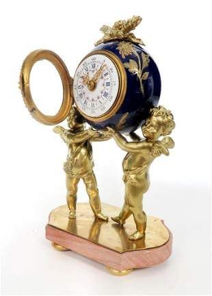French Figural Bronze & Porcelain Jeweled Clock