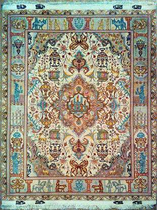 Fine Pictorial Persian Rug from Tabriz
