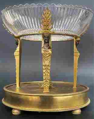 Magnificent Alph Giroux Bronze Crystal Centerpiece
