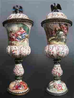 A Pair of AustrianViennese Enamel Silver Urns
