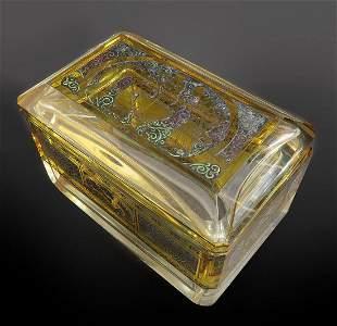 19th C Bohemian Enameled Crystal Jewelry Box