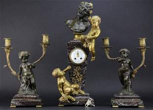 3 piece Clodion Figural Bronze Clock Garniture Set