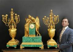 Monumental French Malachite & Figural Bronze Clock Set