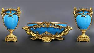 Monumental Sevres & Figural Bronze Garniture Set