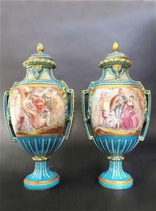 Pair 19th C French Hand Painted Turquoise Sevres Urns
