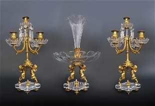 19th C French Baccarat Figural 3 Pcs Garniture