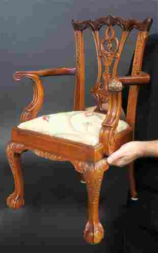 Solid Mahogany Hand Carved Childs Arm Chair