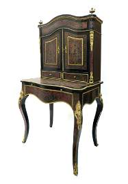 19th C. French Boulle Ladies Desk Cabinet