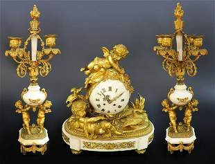 French Marble Figural Bronze Clock Set
