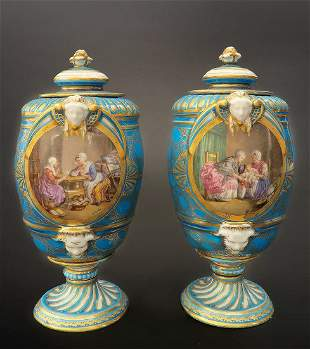 Very Fine Pair of 19th C Turquoise Blue Sevres Urns