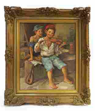 19th C French Oill on Canvas