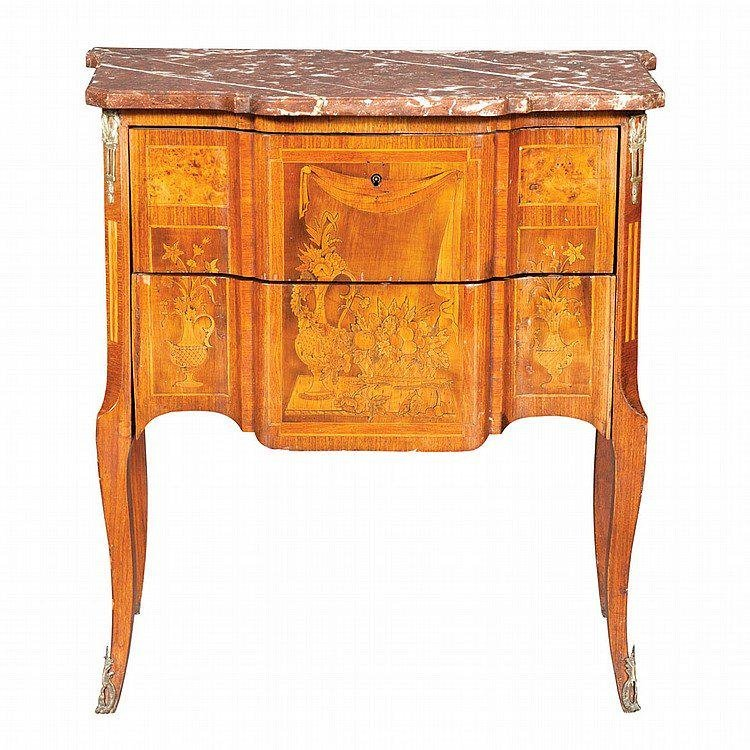 Louis XV Style Gilt Bronze Marble Marquetry Commode