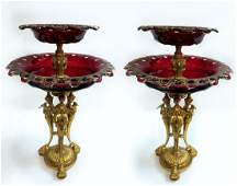 Pair of French Figural Bronze  Ruby Baccarat Compotes