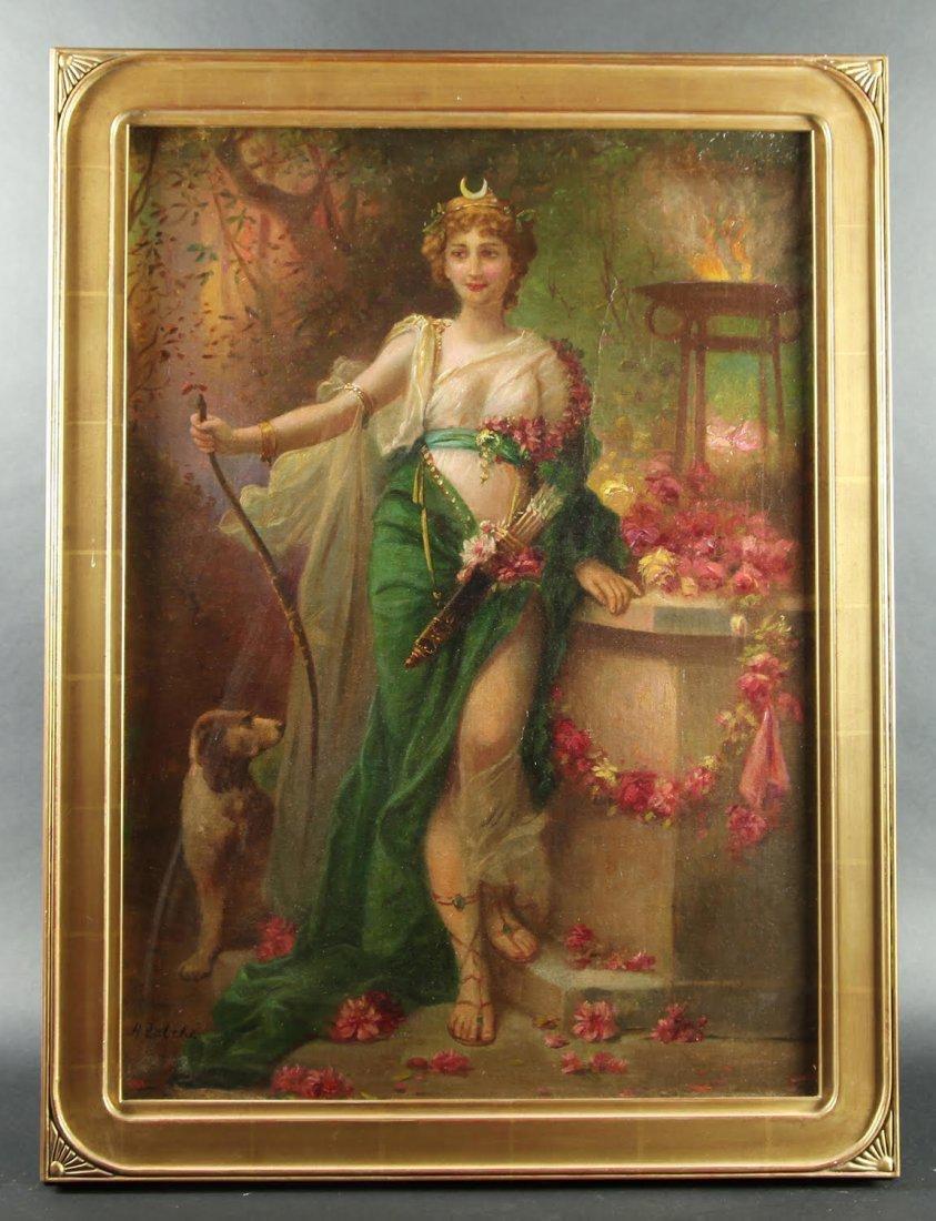Hans Zatzka Oil on Canvas Diana The Huntress