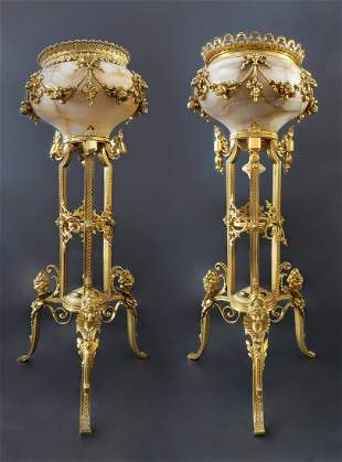 Monumental Pair of French Marble Bronze Vases
