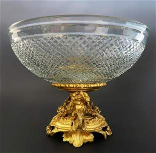 French Baccarat Crystal Figural Bronze Centerpiece