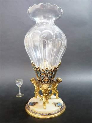 Monumental French Champleve Enamel Baccarat Vase