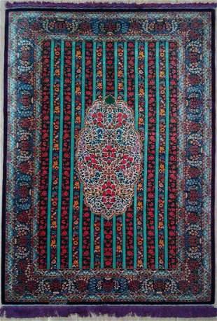 Fine 100 Silk Persian Rug from Qom Signed