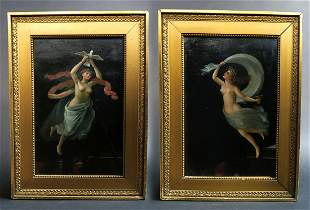 Pair of 19th C Pompeii Runs Mural Painting On Board