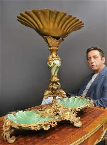 Monumental Dirk Van Erp Bronze & Porcelain Centerpiece