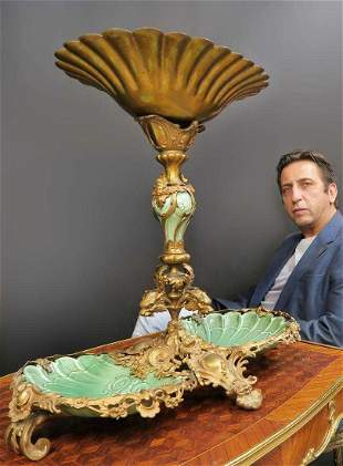 Monumental Dirk Van Erp Bronze Porcelain Centerpiece