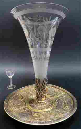 19th C French Bronze and Baccarat Crystal Centerpiece