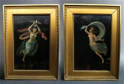 Pair of 19th C. Pompeii Runs Mural Painting On Board