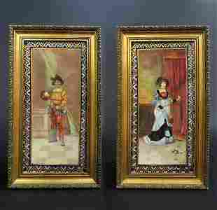 Pair of French Porcelain Plaques Signed Leconte