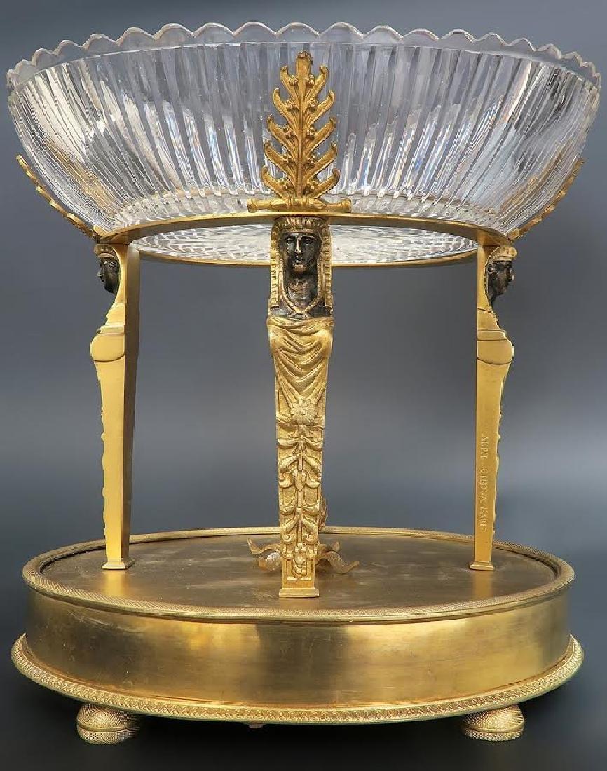 Magnificent Alph Giroux Bronze & Crystal Centerpiece