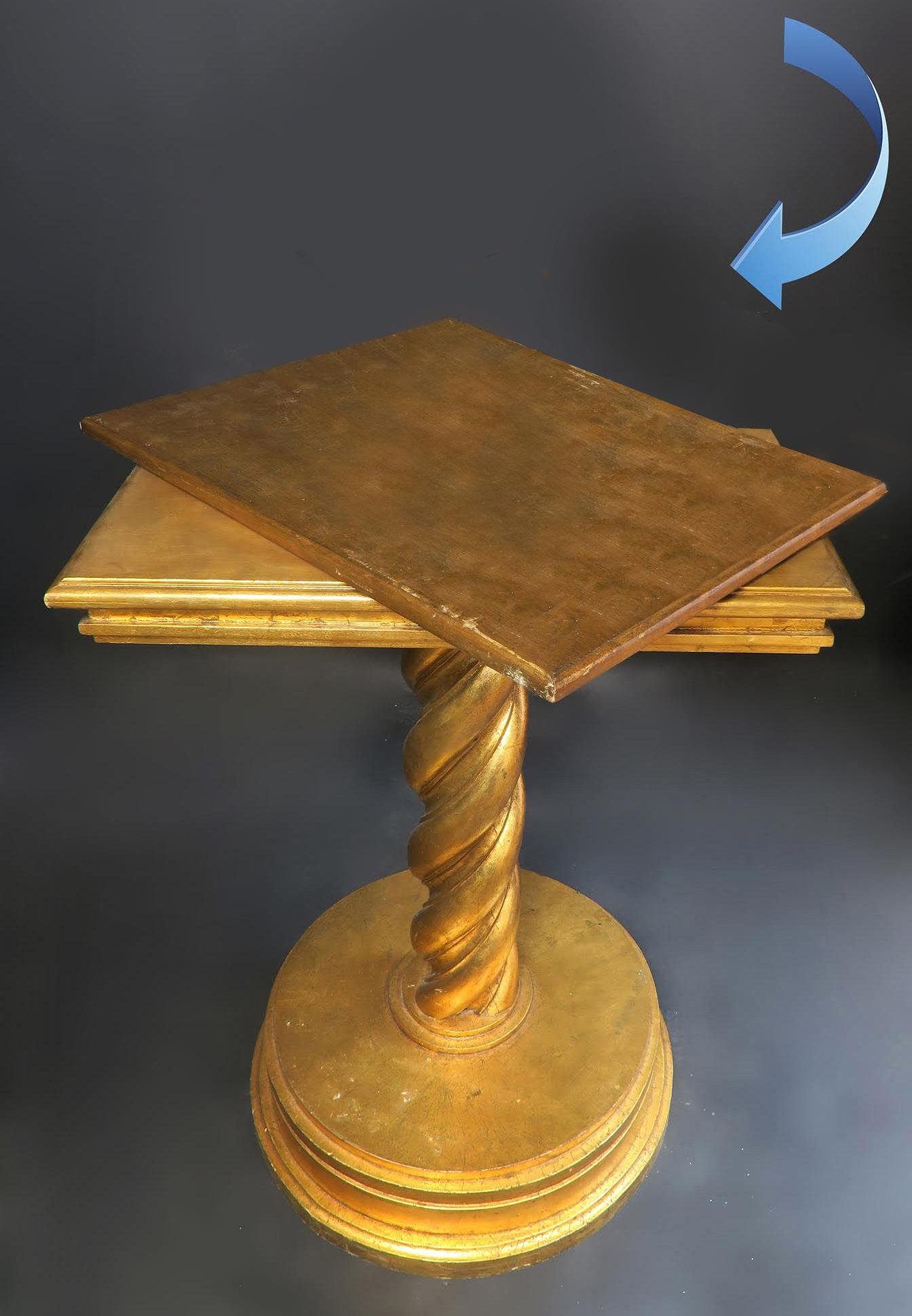 Antique Wooden Rotatable Floor Display Base/Pedestal