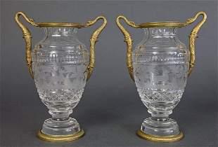 Pair of Bronze Baccarat Crystal UrnsVases