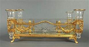 19th C French Bronze Baccarat Crystal Centerpiece