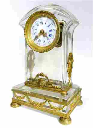 French Bronze Baccarat Crystal Desk Clock 19th C