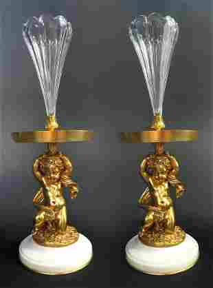 A Pair of Figural Bronze Baccarat Crystal Vases 19th C