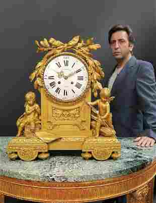 Large French Figural Bronze Clock by Beurdeley