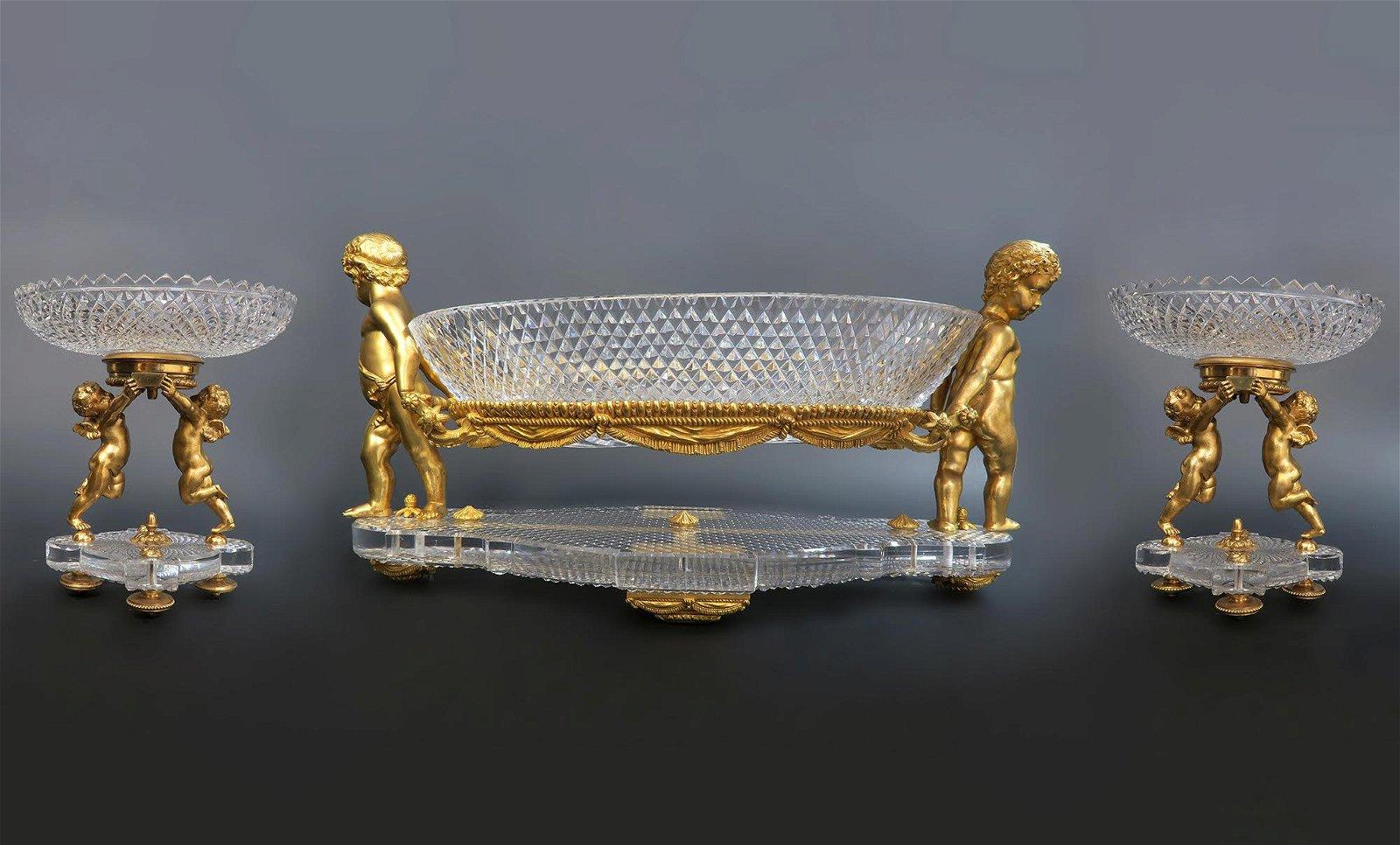 19th C. Figural Bronze & Crystal Baccarat Garniture Set