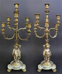 Large Pair of 19th C. Baccarat Figural Candelabras